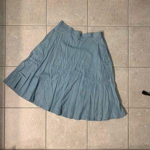 Denim Pocketed Skater Skirt